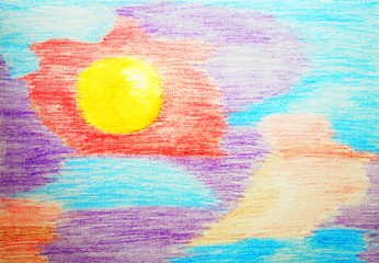 Abstract color watercolor pensil painting.