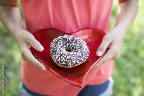 Dish of the heart and donut