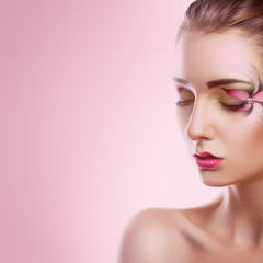 Square photo of gorgeous adult girl with closed eyes on pink bac