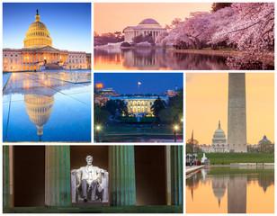 Washington DC famous landmarks picture collage