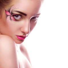 Square  photo of young beauty woman with creative make up