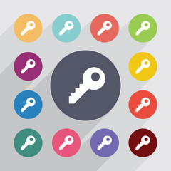 key, flat icons set