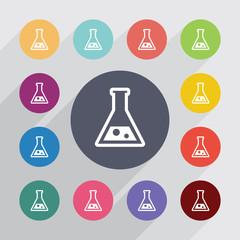 laboratory, flat icons set