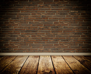 Bricks wall and wooden floor.