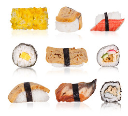 Sushi collection isolated on white background