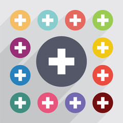 plus medical, flat icons set