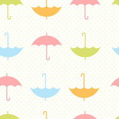 Autumn seamless pattern with flat umbrellas