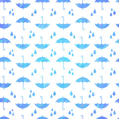 Cute autumn seamless pattern with a set of flat umbrellas