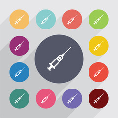 syringe, flat icons set