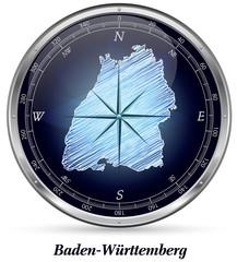 Baden-Wuerttemberg mit Grenzen