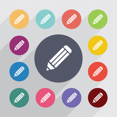 pencil, flat icons set
