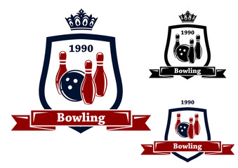 Three bowling badges or emblems