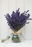 Fototapety Beautiful fragrant lavender bunch in rustic home styled setting