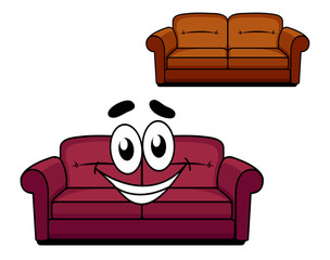 Happy cartoon upholstered couch