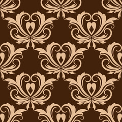 Damask brown seamless floral pattern