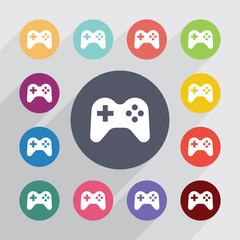 joystick, flat icons set