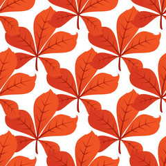 Colorful autumn leaf background seamless pattern