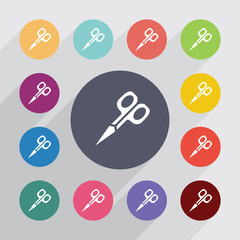 scissors, flat icons set