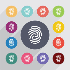 fingerprint, flat icons set