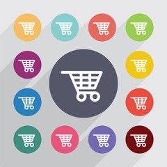 shopping cart, flat icons set