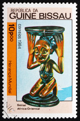 Postage stamp Guinea-Bissau 1984 Kneeling Woman, Wood Sculpture