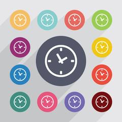 time, flat icons set
