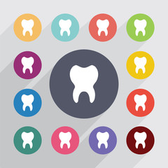 tooth, flat icons set