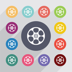 video film, flat icons set