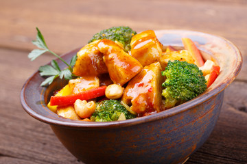 Asian food - Chicken with vegetables and cashew nuts