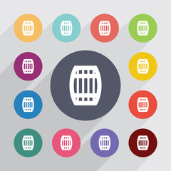 barrel, flat icons set