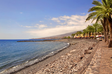 Beautiful send beach in Adeje Playa de las Americas on Tenerife,