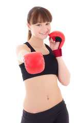 beautiful teenage girl in boxing gloves isolated on white