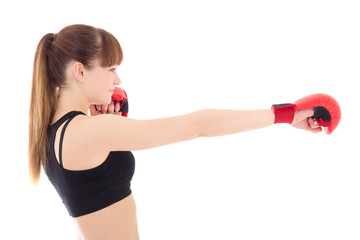 beautiful slim woman in boxing gloves isolated on white