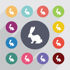 rabbit, flat icons set