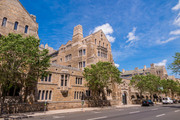Yale university buildings in summer blue sky in New Haven, CT US