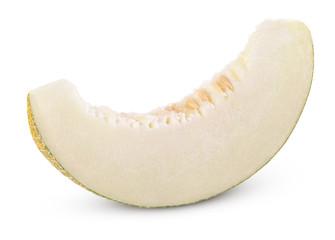 Cantaloupe melon slice isolated on white