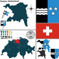 Map of Aargau, Switzerland