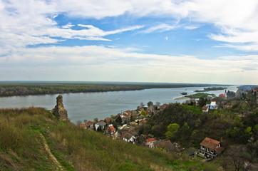 Panorama of Slankamen, city at Danube river