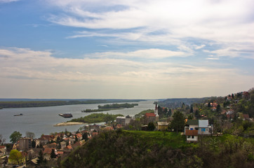 Panorama of Slankamen, city at Danube river