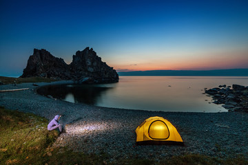 Camping at beautiful sunset