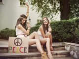 Two boho female friends in summer day poster