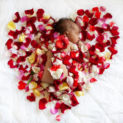 Black newborn baby sleeping in rose petals