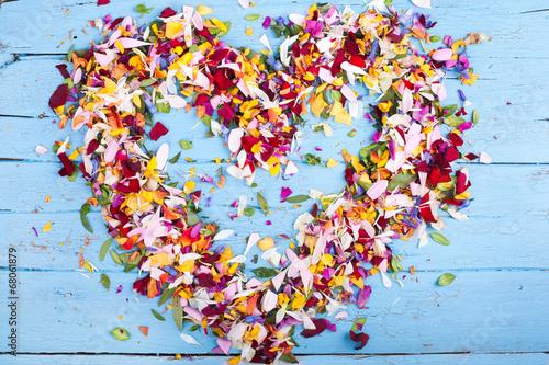 canvas print picture Herz aus bunten Blüten
