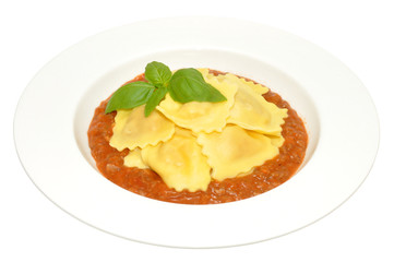Fresh Cooked Ravioli Pasta And Bolognaise Sauce