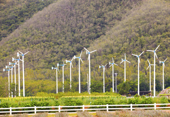 landscape of eco windmill turbines  fan in agriculture farm for