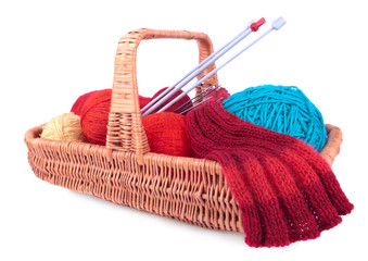 The yarn and knitting in the wicked basket