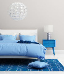 Contemporary fresh elegant blue bedroom with rug