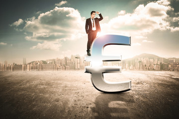 businessmen looking forward from upon big euro icon
