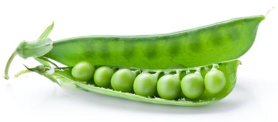 Fresh peas are contained within a pod.
