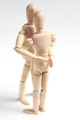 デッサン人形 抱きつく